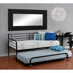 Trundle Bed Set Black Frame Twin W/ Daybed Metal Roll Out Bunk Kids Day Wheels