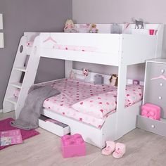 The Flick Triple Bunk Bed has plenty of practical storage space to offer, both the top and bottom bunks have useful shelving units at the back of them while the included under bed drawer is also convenient for extra storage.
