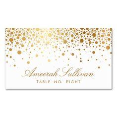 Faux Gold Foil Confetti Dots Elegant Place Cards Business Card