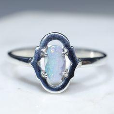 Australian Solid Boulder Opal Silver Ring - Size 7 Code - RS42 Silver Opal Ring, Opal Rings, Gemstone Rings, Silver Rings, Green Opal, Pink And Green, Natural Opal, Natural Diamonds, Diamond Mines