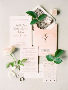 Elegant pink wedding invitation suite: Photography: Rachel Solomon - http://rachel-solomon.com/