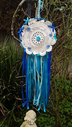 Handmade Boho Dreamcatcher/Blue Ribbon/Crochet Doily/Boho Decor Blue Dream Catcher, Lace Dream Catchers, Boho Dreamcatcher, Dreamcatchers, Doilies Crafts, Crochet Doilies, Blue Ribbon, Suncatchers, Boho Decor