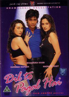 DIL TO PAGAL HAI, El Corazón está Loco. Rahul (Shahrukh Khan) es un bailarín y director de éxito, Él cree que Nisha (Karisma Kapoor), una de sus bailarinas, es su mejor amiga. Nisha actúa como su amiga, pero está secretamente enamorada de él.  Nisha se lesiona el pie y  Contrata a Pooja (Madhuri Dixit). Ella y Rahul se atraen cada vez más, pero actúan como si no estuviera sucediendo. Pooja no dice a Rahul que ya está comprometida con Ajay (Akshay Kumar), hijo de amigos de la familia.