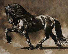Friesian Mist by (print image) Beautiful Arabian Horses, Most Beautiful Horses, Pretty Horses, Horse Love, Horse Drawings, Animal Drawings, Horse Artwork, Black Horses, Friesian Horse