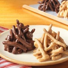 HAYSTACKS    1 cup La Choy® Chow Mein Noodles  1/2 cup semi-sweet chocolate morsels  1/2 cup miniature marshmallows  1/4 cup Creamy Peanut Butter  Place morsels & peanut butter in microwave-safe container. Heat in microwave on HIGH 1 min. or until almost melted, stir after 45 seconds, stir until smooth. Add chow mein noodles and marshmallows. Stir until well coated. Drop mixture by spoonfuls onto waxed paper-lined plate. Cool in freezer 10 min. or until firm. Store leftovers in refrigerator.