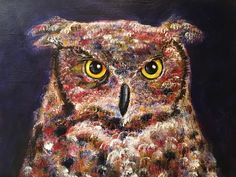 Painting of our very own Stella, the Great Horned Owl.  Stella is the official live mascot of Temple University Athletics. See her on the sidelines of all Temple Football home games this season!