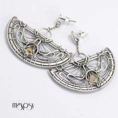 Metropolitain - Hector Guimard inspired earrings. Wire wrapped earrings made by hand in sterling silver and natural citrine by mgypsy.
