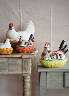 Collectibles: Let's go antiquing! 1. HENS ON NESTS:   WHAT ARE THEY? Colorfully painted hens on nests topped many tables in 19th-century England. People were drawn to their decorative outsides (and the hard-cooked eggs often kept inside). Some of these pieces of Staffordshire pottery (made in Staffordshire, England) were painted to represent actual breeds of hens.   HOW MUCH? You'll pay anywhere from $300 to $3,000, with big, colorful hens more expensive than small, plain ones, says Dennis B...