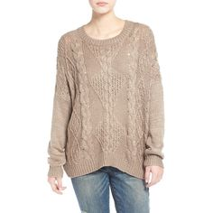 Junior Dreamers by Debut Cable Front Sweater ($48) ❤ liked on Polyvore featuring tops, sweaters, taupe, cableknit sweater, long sleeve cable knit sweater, long sleeve dolman top, cotton cable knit sweater und dolman-sleeve sweater
