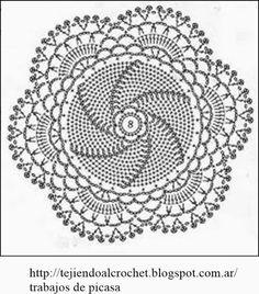 How to Crochet a Puff Flower Crochet Diagram, Crochet Chart, Filet Crochet, Crochet Motif, Crochet Designs, Crochet Doilies, Crochet Stone, Crochet Round, Crochet Books