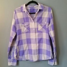 Flannel shirt Purple & grey check flannel, very soft & comfy, slim fit for female figure. Color is more true to detail picture. 100% cotton. From Pacific Sun. Nollie Tops Button Down Shirts