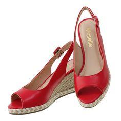 Sandália Feminina Vermelha Salto Bloco Salto Baixo Sapatos Lindo Oferta Balada Promoção
