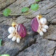 Ruby stud earrings - wire wrapped studs earrings - 14k gold filled