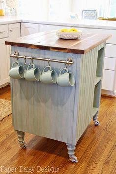 diy kitchen island cart with plans diy kitchen design kitchen island repurposing upcycling woodworking projects Kitchen Island On Wheels, Diy Kitchen Island, New Kitchen, Kitchen Decor, Design Kitchen, Kitchen Ideas, Country Kitchen, Dresser Kitchen Island, Updated Kitchen