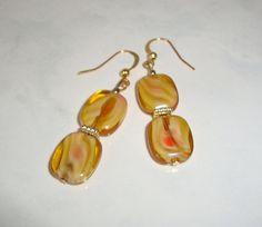 Gold Amber Glass Bead Earrings Handmade by CoastalCreationz, $6.00