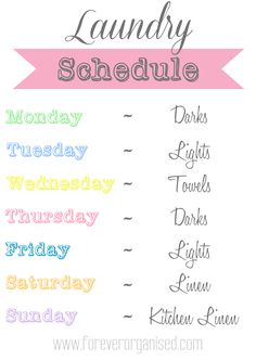 Our Laundry Schedule - www.foreverorganised.com