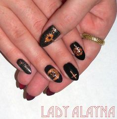 Occult nails with red undersides - handpainted, handmade decals, studs, striping tape on natural nails - Halloweeny :-) Just the Tip Nail art by Alayna Josz www.facebook.com/ladyalaynanailart instagram.com/ladyalayna  #SephoraNailSpotting #nailitdaily #nailart #nailartaddict #nailswag #NOTD #nailporn #nailgasm #ilovenails