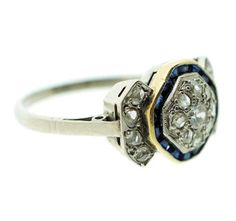 Art deco ring with sapphires - Anillo de los años 20 con brillantes y zafiros