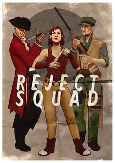 """"""" MacCready, Hancock, Cait. Also known as the Reject Squad, here for all your shootin', stabbin', and fightin' needs."""" Is it bad these are my top companions??"""