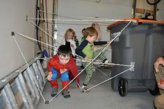 Really like this idea for a Spider-Man birthday party. Put up some string for a web obstacle course. I think the kids would have so much fun with this.
