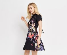 Oasis, FLORAL PLACEMENT SKATER DRESS Multi Black