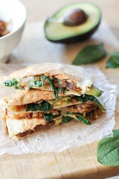 It's not every day I show you a quesadilla. In fact…I've never shown you a quesadilla. Why haven't I shown you a quesadilla?Caramelized Onion, Spinach, and Avocado Quesadilla. Avocado Quesadilla, Quesadillas, Quesadilla Recipes, Vegetarian Quesadilla, Nachos, Bowls, Vegetarian Recipes, Healthy Recipes, Fast Recipes