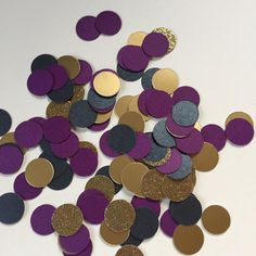 Gold and Dark Purple Confetti Circles with Shiny Gold, Glitter Gold and Shimmery Black | Wedding and Event Confetti by WildfireEvents