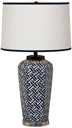 Navy Geo Sake Jar Porcelain Table Lamp | LampsPlus.com