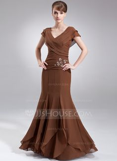 A-Line/Princess V-neck Floor-Length Beading Cascading Ruffles Zipper Up Sleeves Short Sleeves No Brown Spring Fall General Plus Chiffon Mother of the Bride Dress