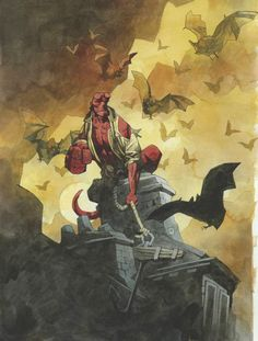 I finally watched Hellboy. Several friends have recommended the movie, I'm into alternate history and WWII, and I really dig Mike Mignola's art, as do several of the comic book artists I follow, but somehow I'd never read the comic books or seen the movie. One down, one to go. (Liked the movie, by the way - Selma Blair's performance was a little flat, but I couldn't tell if her character was supposed to be boring or not).