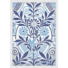 Big Fish Damask In Blue Wall Art   Pure Home