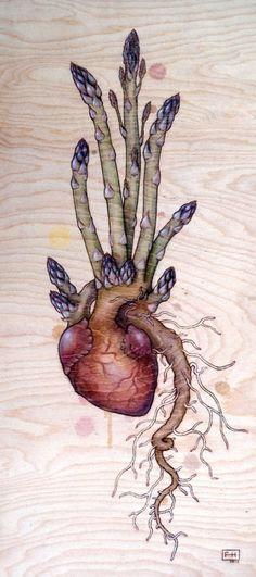 asparagus heart pyrography by fay helfer