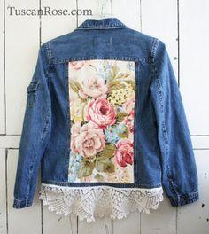 Vintage Roses and Lace Denim Jacket upcycled boho by TuscanRose, $28.00