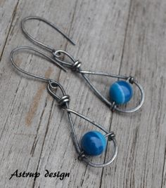 Unique earrings - 925 silver and blue stone