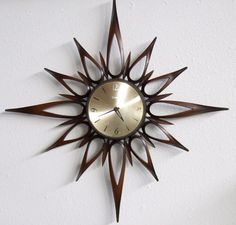 STARBURST Wall Clock Mid Century Danish by PeacockVintageModern, $125.00