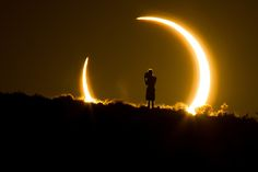 """""""An Onlooker Witnesses the Annular Solar Eclipse as the Sun Sets on May 2012 by Colleen Pinski"""" Eclipse Solar 2017, Solar Eclipse Activity, Kolkata, Cosmos, Eclipse Photos, F Stop, Total Eclipse, August Eclipse, Our Solar System"""