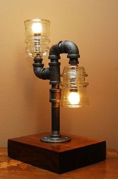 Industrial Style Pipe Lamp with Clear Glass by TRoweDesigns
