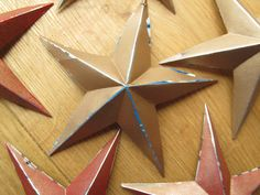 Rustic Stars made from recycled drink cans