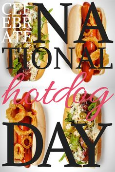 Wednesday, July 23, 2014 is National Hot Dog Day! Celebrate with Tasty Toppings: http://blog.diynetwork.com/maderemade/2014/07/21/tasty-ways-to-celebrate-national-hot-dog-day/?soc=pinterest