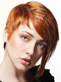 red short hair, asymmetrical cut, youth style