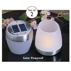 Set of 2 Flip N Charge Solar Candles