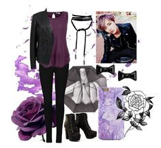 """Taehyung-Purple"" by lorna-castillo ❤ liked on Polyvore featuring Splendid, Versace, Marc by Marc Jacobs, Forever 21, bts and taehyung"