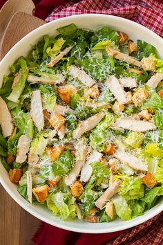 Chicken Caesar Salad with Garlic Croutons and Light Caesar Dressing | Found on Sporkz | You can never have too many salad recipes and we all need this classic, a really good Chicken Caesar Salad.