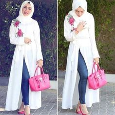open dress with jeans-Modest and colorful hijab outfits – Just Trendy Girls