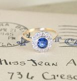 Edwardian Sapphire and Diamond Cluster vintage ring   Erica Weiner