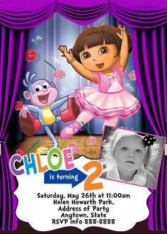 Dora the Explorer  Ballet Invitation Digital File 4X6 or 5X7. $5.00, via Etsy.