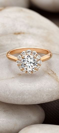 Rose Gold Lotus Flower Diamond Ring
