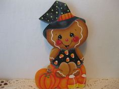 HP Gingerbread Witch,pumpkins, candycorn Shelf Sitter hand painted USA