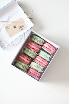DIY packaging + Champagne Strawberry-Rhubarb Macarons