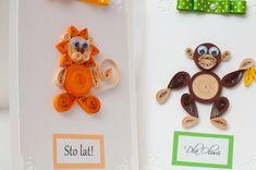 quilled động vật thẻ sinh nhật với động vật sư tử con voi con khỉ
